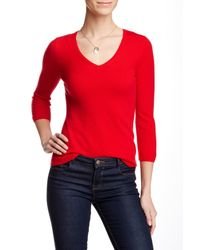 In Cashmere | Red 3/4 Sleeve Cashmere Sweater | Lyst