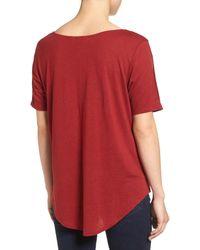 Hinge - Red Split Sleeve Tee - Lyst