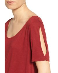 Hinge - Red Split Sleeve Tee - Lyst