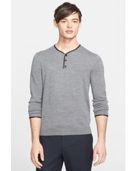 The Kooples | Gray Leather-trimmed Merino Wool Henley Sweater for Men | Lyst