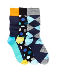 Happy Socks - Blue Assorted Print Sock - Pack Of 3 for Men - Lyst