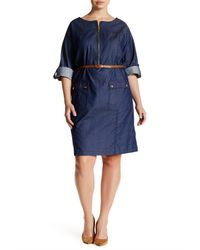 Sharagano - Blue Zip Front Cuffed & Pocketed Denim Shirtdress (plus Size) - Lyst