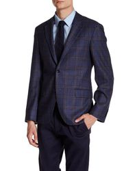 Ike Behar | Blue Navy Plaid Double Button Notched Lapel Wool Jacket for Men | Lyst