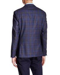 Ike Behar - Blue Navy Plaid Double Button Notched Lapel Wool Jacket for Men - Lyst