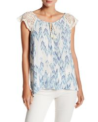 Love Stitch | Blue Printed Crochet Shoulder Sleeveless Blouse | Lyst