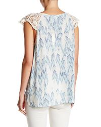 Love Stitch - Blue Printed Crochet Shoulder Sleeveless Blouse - Lyst