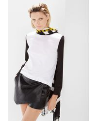 Izzue - White Colorblock Mock Collar Crepe Shirt - Lyst
