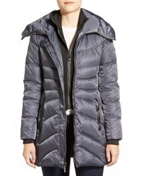 Vince Camuto - Gray Down & Feather Fill Coat With Inset Vest - Lyst