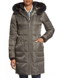 Vince Camuto | Gray Bib Front Down & Feather Fill Coat With Faux Fur | Lyst