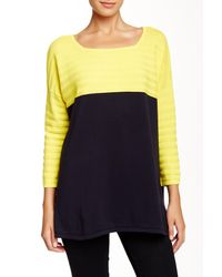 Joan Vass | Blue Colorblock Sweater | Lyst