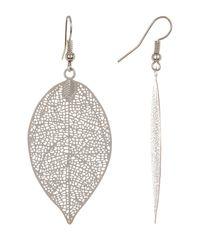 Joe Fresh - Metallic Leaf Pendant Earrings - Lyst