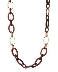 Joe Fresh   Brown Wood & Metal Link Necklace   Lyst