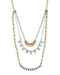 Lucky Brand | Metallic Two-tone Turquoise Layer Necklace | Lyst