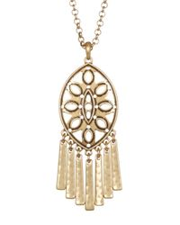 Lucky Brand | Metallic Openwork Fringe Pendant Necklace | Lyst