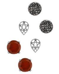 Lucky Brand - Metallic Ruby Triple Stud Earrings Set - Lyst