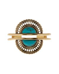 Lucky Brand | Metallic Turquoise Stone Double Cuff Bracelet | Lyst