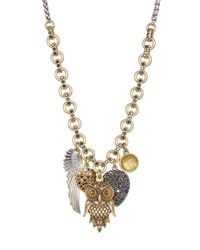 Lucky Brand | Metallic Two-tone Owl Charm Necklace | Lyst