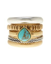 Lucky Brand | Metallic Turquoise Accent Stacked Ring - Set Of 5 | Lyst