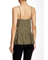Jessica Simpson | Green Renee Embroidered Mesh Peplum Cami | Lyst