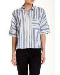 Jealous Tomato - Blue Side Slit Striped Shirt - Lyst