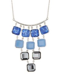 Kenneth Cole - Blue Square Stone Statement Necklace - Lyst