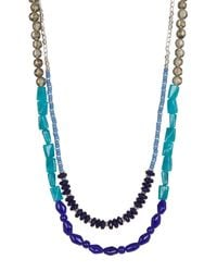 Kenneth Cole | Blue Two-row Multi Bead Long Necklace | Lyst
