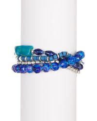 Kenneth Cole | Blue Four-row Multi Bead Stretch Bracelet | Lyst