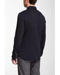 John Varvatos - Blue Long Sleeve Full Button Front Jacquard Knit Wool Blend Shirt for Men - Lyst