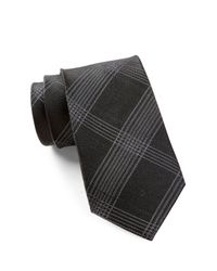 Calvin Klein   Black Silk Intersect Grid Tie for Men   Lyst