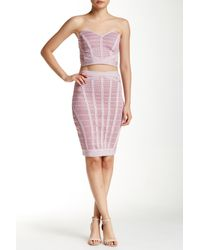 Wow Couture - Pink Two-piece Set Multi-stripe Bandage Dress - Lyst