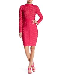 Wow Couture - Pink Mesh Contrast Studded Dress - Lyst