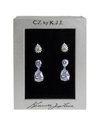 CZ by Kenneth Jay Lane - Metallic Pear Cz Stud & Drop Earrings Set - Lyst