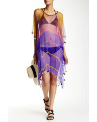 Raj - Purple Tie-dye Long Silk Tassel Caftan - Lyst