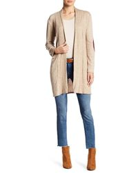 Peach Love California - Natural Open Front Elbow Patch Cardigan - Lyst