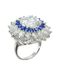 CZ by Kenneth Jay Lane - Metallic Cz Accented Cushion Ring - Lyst