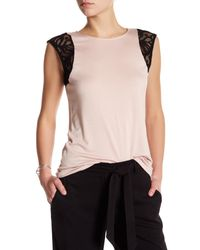 Laundry by Shelli Segal | Multicolor Lace Cap Sleeve Tee-shirt | Lyst