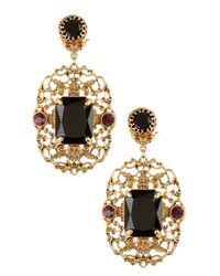 Lauren by Ralph Lauren - Metallic Filigree Stone Statement Earrings - Lyst