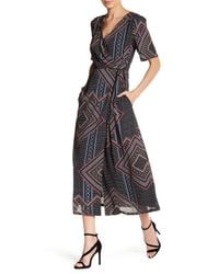 Lucca Couture - Black Short Sleeve Midi Wrap Dress - Lyst