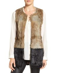 Love Token - Brown Genuine Rabbit Fur Vest - Lyst