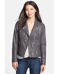 MICHAEL Michael Kors | Gray Leather Moto Jacket | Lyst