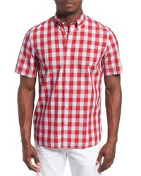 Fred Perry | Red Extra Trim Fit Short Sleeve Tartan Check Woven Shirt for Men | Lyst
