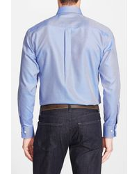 Peter Millar - Blue 'nanoluxe' Regular Fit Wrinkle Free Sport Shirt for Men - Lyst