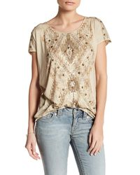 Miss Me - Multicolor Back Knotted Fringe Tee - Lyst