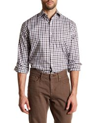 Peter Millar | Brown Melange Check Long Sleeve Regular Fit Shirt (tall) for Men | Lyst