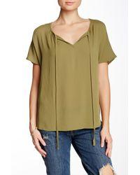 Bobeau - Green Short Sleeve Gauze Blouse - Lyst
