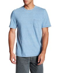 Faherty Brand | Blue Indigo White Stripe Tee for Men | Lyst