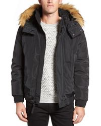 Andrew Marc | Black Knox Faux Fur Trimmed Bomber Jacket for Men | Lyst