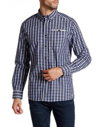 Kenneth Cole | Blue Long Sleeve Button Down Collar Check Modern Fit Shirt for Men | Lyst