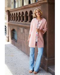 NYDJ - Pink Textured Gabardine Collarless Topper - Lyst
