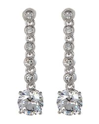 Nadri | White Cz Linear Drop Earrings | Lyst